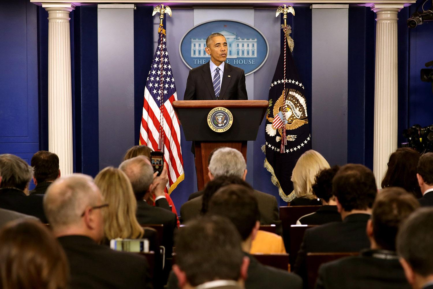 <p>U.S. President Barack Obama speaks during a news conference in the Brady Press Briefing Room at the White House Dec.16, 2016 in Washington, DC. In what could be the last press conference of his presidency, afterwards Obama will be leaving for his annual family vacation in Hawaii. (Photo: Chip Somodevilla/Getty Images) </p>