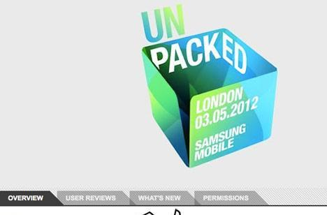 Samsung's Unpacked Mobile 2012 app outs 'Galaxy S3' as next smartphone's name