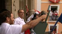 Opening of annual bull-running festival in Pamplona