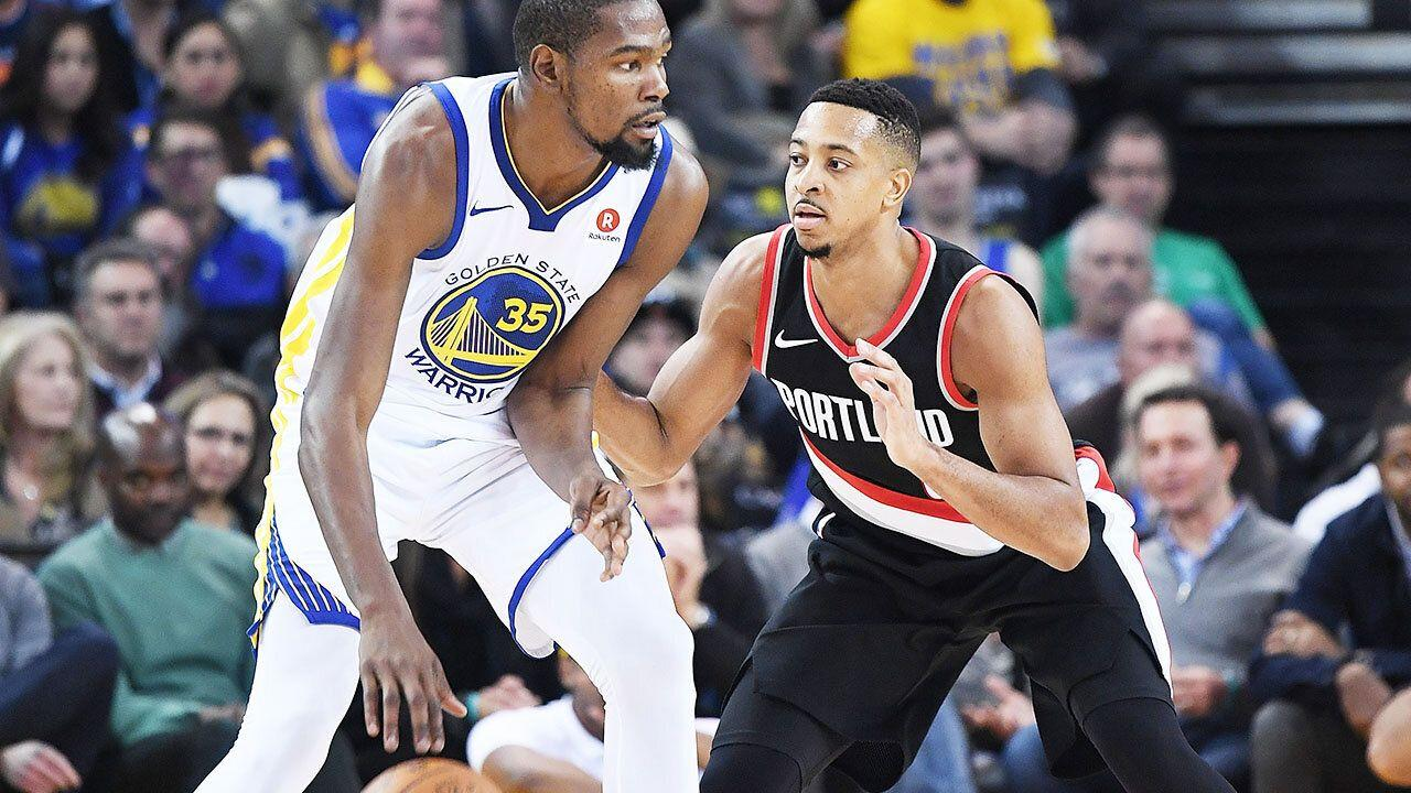 4ddc223f448 Kevin Durant s pre-season sledge for CJ McCollum backfires