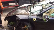 Ferrari driver wrecks £200,000 supercar by ploughing into trees 'after accelerator gets stuck'