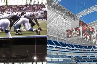 Dallas Cowboys record breaking 1080p display caught on video before the stadium opens