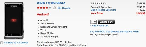 Motorola Droid 2 falls to $150, makes room for $200 Droid 2 Global