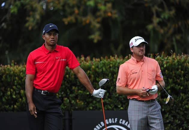 tiger woods paired with graeme mcdowell  louis oosthuizen for first two rounds of british open
