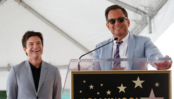 Actor Will Arnett speaks next to actor Jason Bateman before unveiling Bateman's star on the Hollywood Walk of Fame in Los Angeles, California, U.S., July 26, 2017. REUTERS/Mario Anzuoni