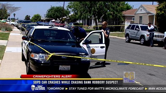 SDPD car crashes while chasing bank robbery suspect