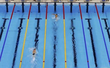 Prova de natação durante os Jogos Olímpicos Rio 2016