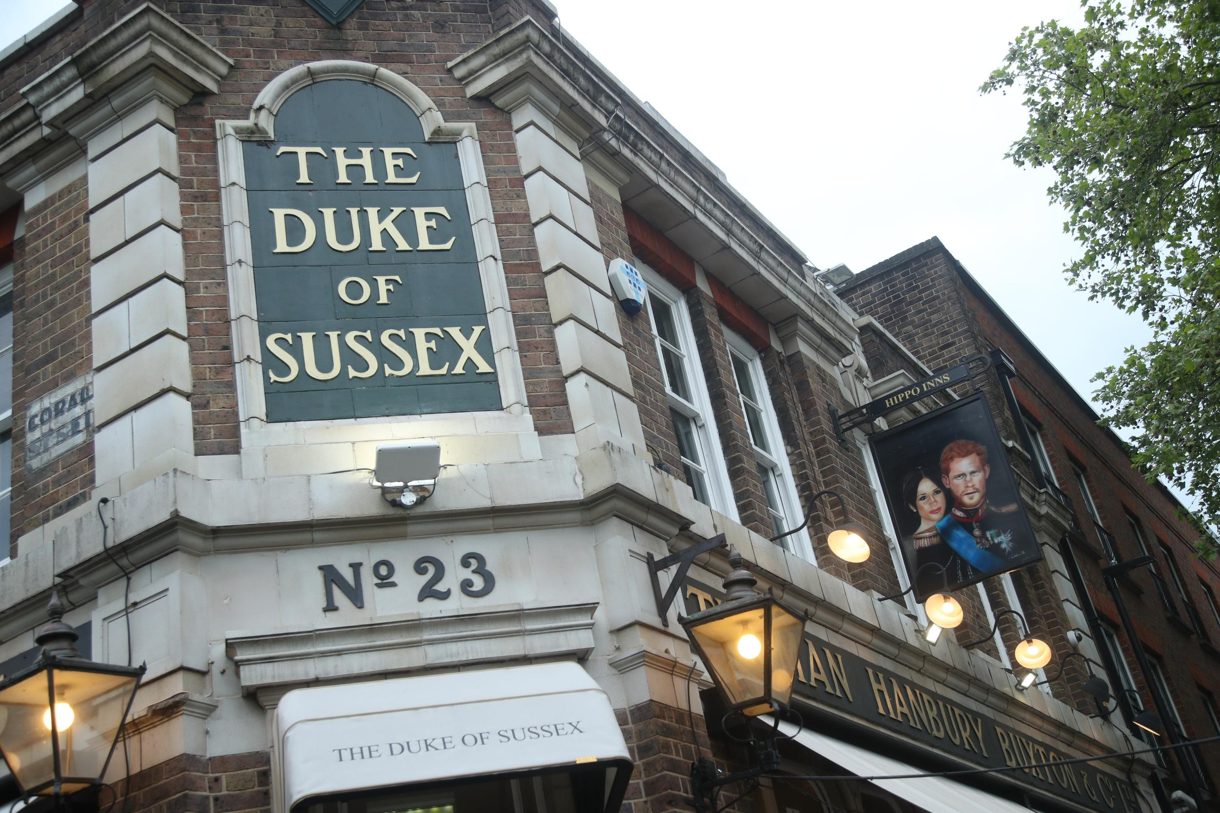 The Duke of Sussex public house in Waterloo, London on the day the Duke and Duchess of Sussex had a baby boy.