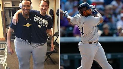 Pair of Brewers teammates squeeze into Jesus Aguliar's pants