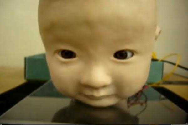 Fake robot baby provokes real screams (video)