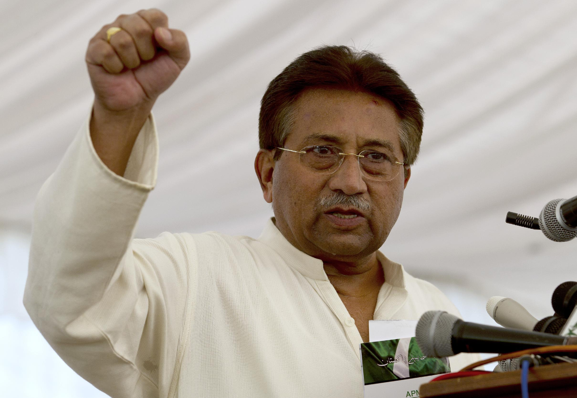 FILE -- In this Monday, April 15, 2013 file photo, Pakistan's former President and military ruler Pervez Musharraf addresses his party supporters at his house in Islamabad, Pakistan. A lawyer representing Pakistan's former President Pervez Musharraf says he has been granted bail in a case involving the death of a separatist leader. The move paves the way for Musharraf's release as he has been granted bail in other cases against him as well. (AP Photo/B.K. Bangash, File)