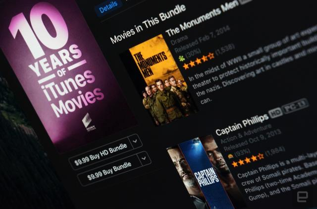 iTunes offers 10-movie bundles for $10 each