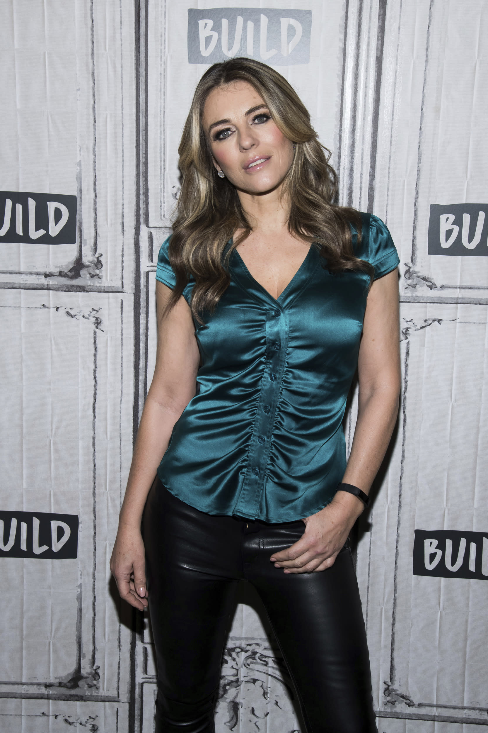 """Elizabeth Hurley participates in the BUILD Speaker Series to discuss the the television show """"The Royals"""" at AOL Studios on Wednesday, March 7, 2018, in New York. (Photo by Charles Sykes/Invision/AP)"""
