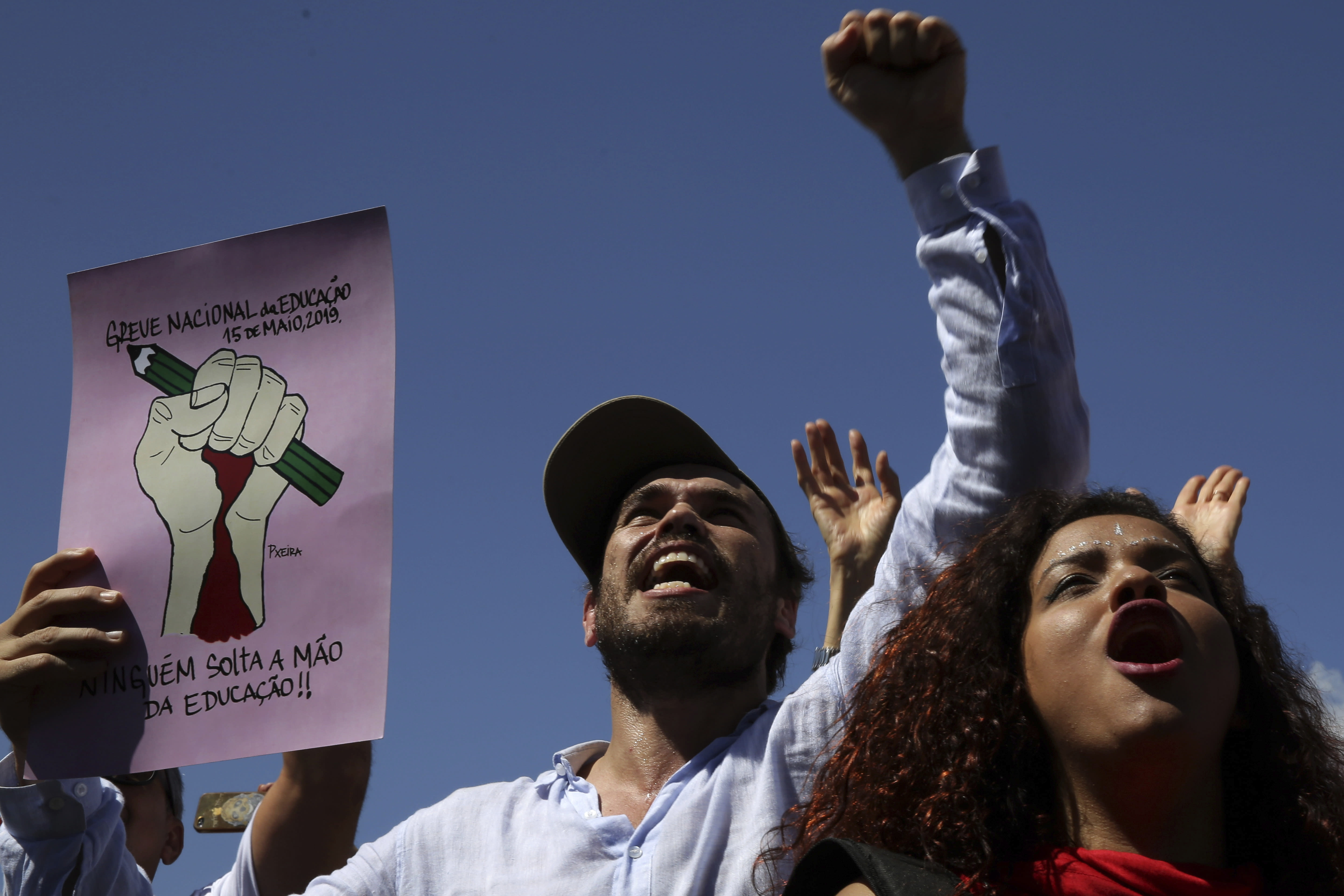 Crowds protest against education cuts in Brazil