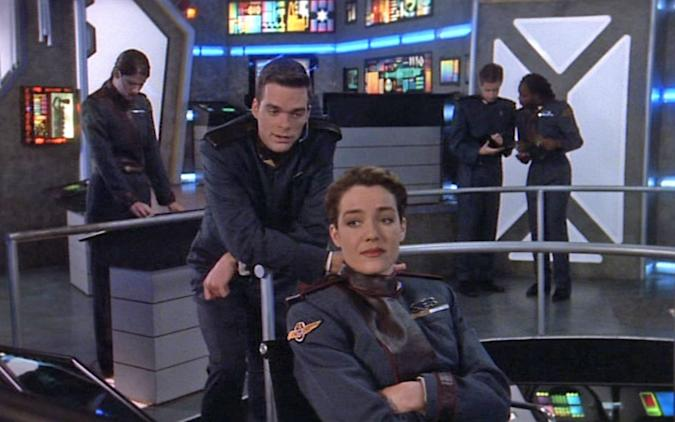 A still from the main deck of a ship from the TV show 'Babylon 5'.