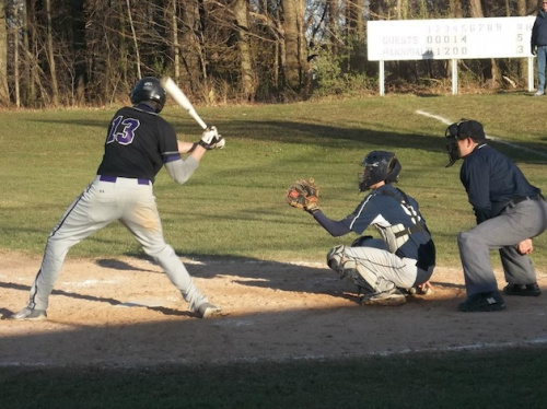 Jake Shortsleff, here at bat, struck out 20 batters among 21 outs in a complete game victory — Facebook