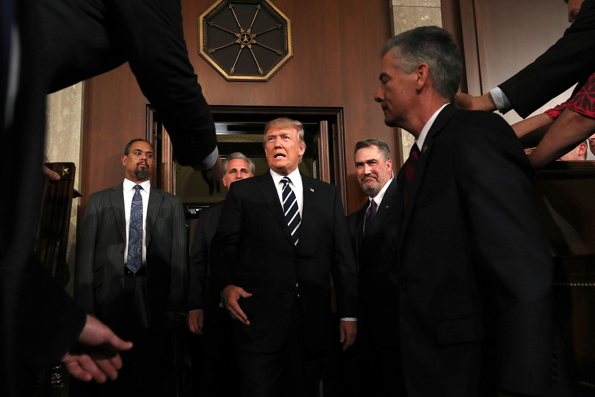 <p>President Donald Trump arrives on Capitol Hill in Washington, Tuesday, Feb. 28, 2017, for his address to a joint session of Congress. (Jim Lo Scalzo/Pool Image via AP) </p>