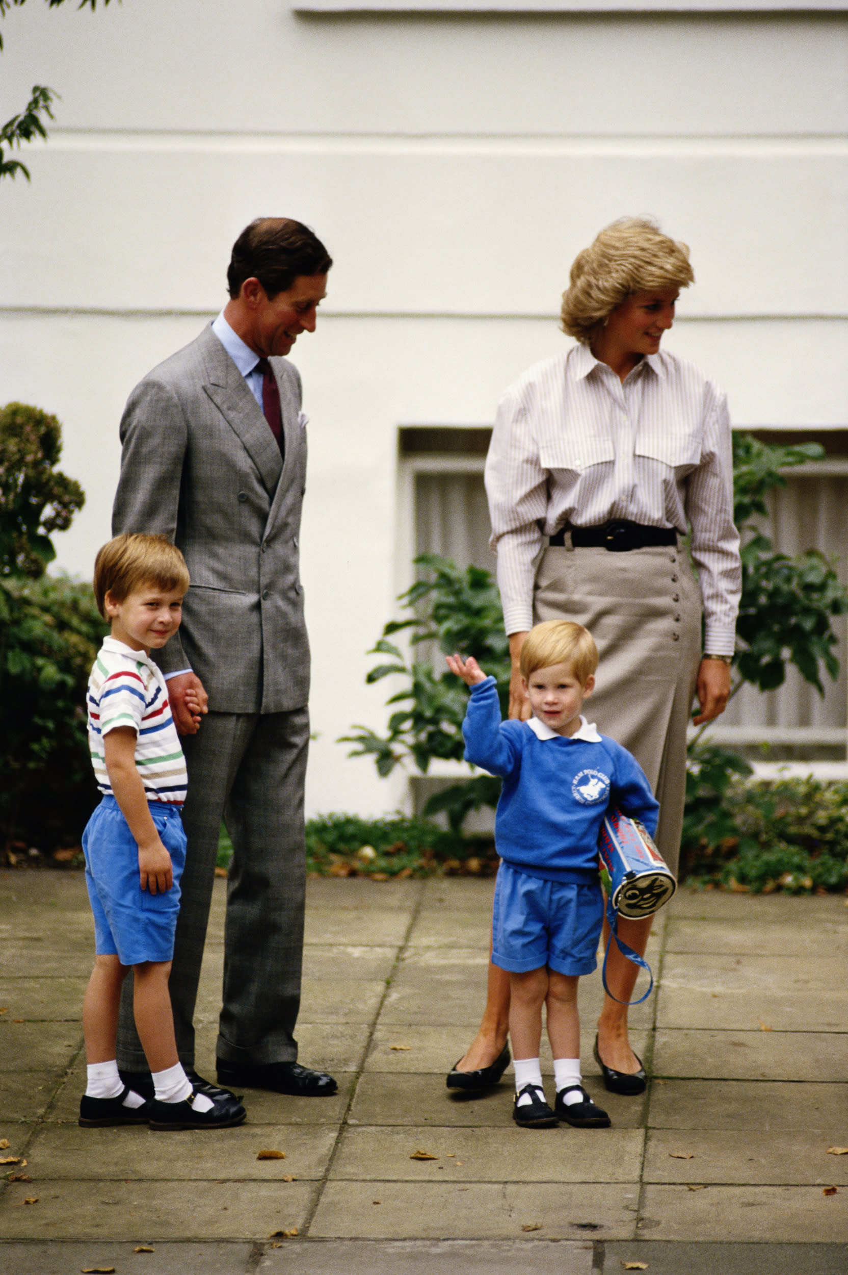 Prince Charles, Princess Diana and Prince William accompanying Prince Harry on his first day at Mrs. Mynor's nursery school, London, 16th September 1987. (Photo by Jayne Fincher/Hulton Archive/Getty Images)