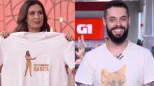 Fátima dá camiseta para Cauê Fabiano na despedida do repórter