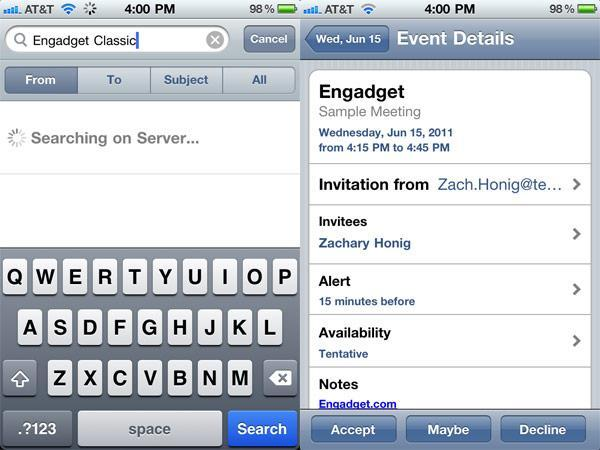 Google Sync adds mail server search, appointment confirmation to native iOS apps