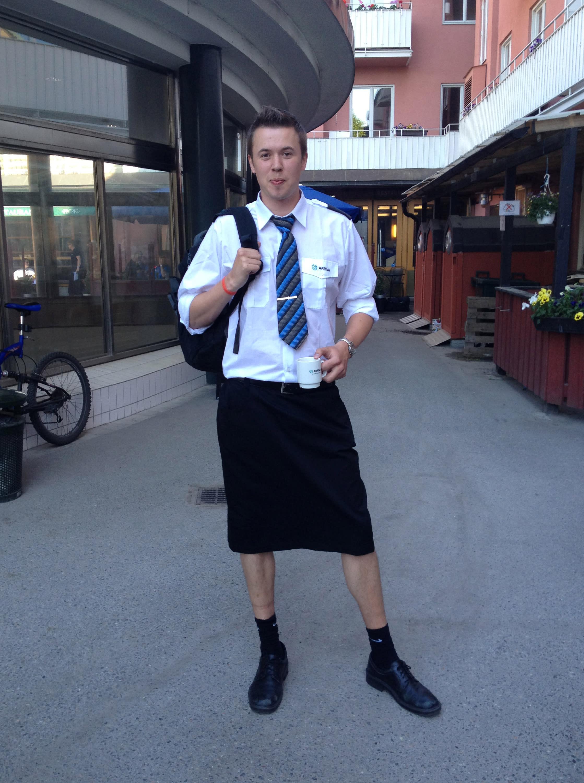Swedish male train drivers wear skirts to work