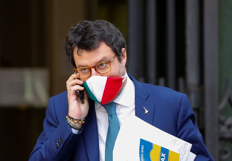 Leader of Italy's far-right party Matteo Salvini wearing a protective face mask, leaves the Senate as the spread of the coronavirus disease (COVID-19) continues, in Rome