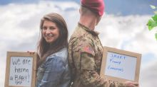 Woman surprises her husband with pregnancy before deployment