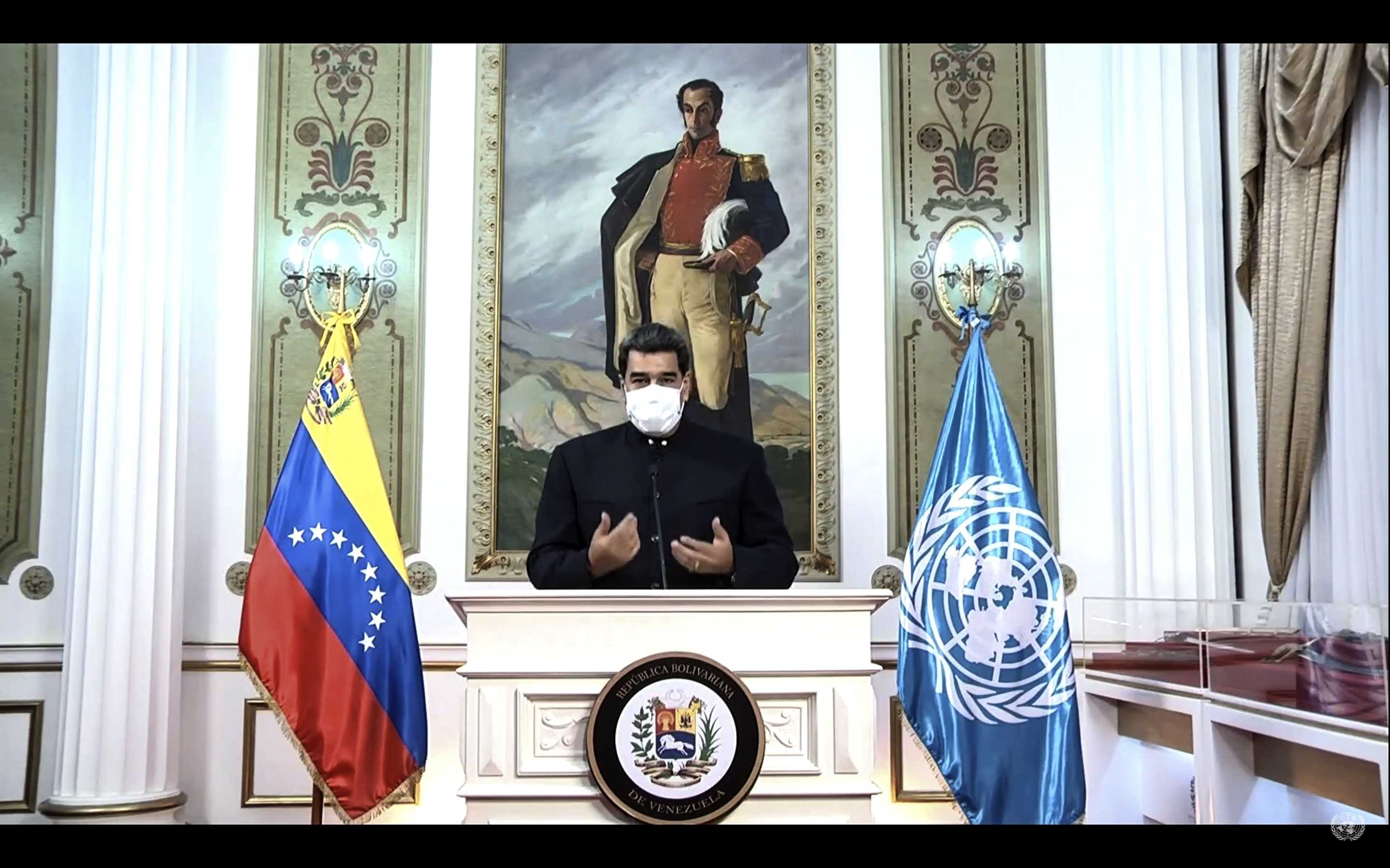 In this UNTV image, Nicolás Maduro Moros, President of Venezuela, wears a mask as he speaks in a pre-recorded video message during the 75th session of the United Nations General Assembly, Wednesday, Sept. 23, 2020, at UN headquarters in New York. The U.N.'s first virtual meeting of world leaders started Tuesday with pre-recorded speeches from heads-of-state, kept at home by the coronavirus pandemic. (UNTV via AP)