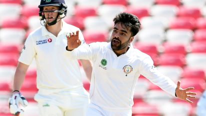 Afghanistan star's slice of Test cricket history