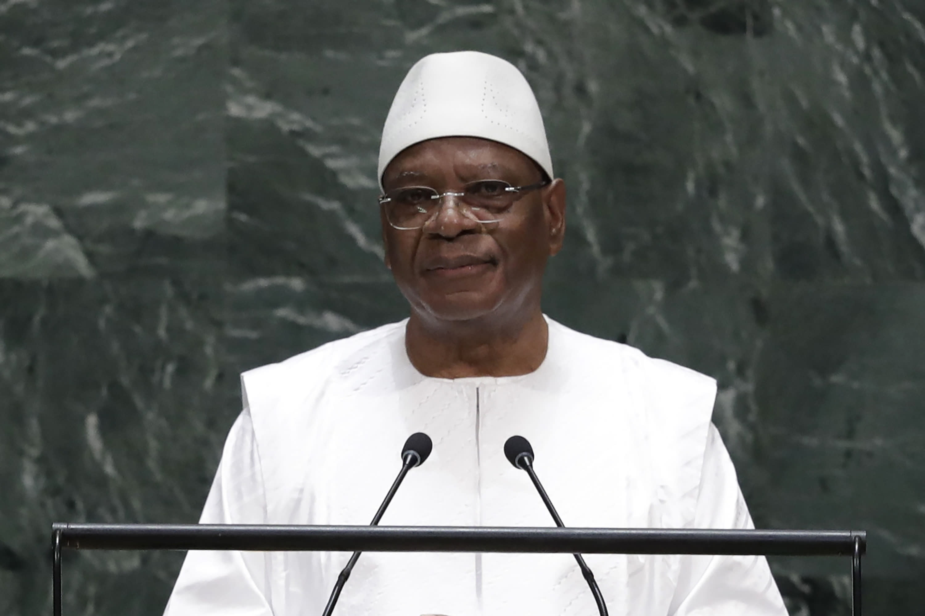 FILE - In this Sept. 25, 2019, file photo, Mali's President Ibrahim Boubacar Keita addresses the 74th session of the United Nations General Assembly, at the United Nations headquarters. In a televised midnight speech, Keita promised early Thursday, July 9, 2020, to reform the country's constitutional court in a bid to quell another round of protests calling for his resignation. (AP Photo/Frank Franklin II, File)