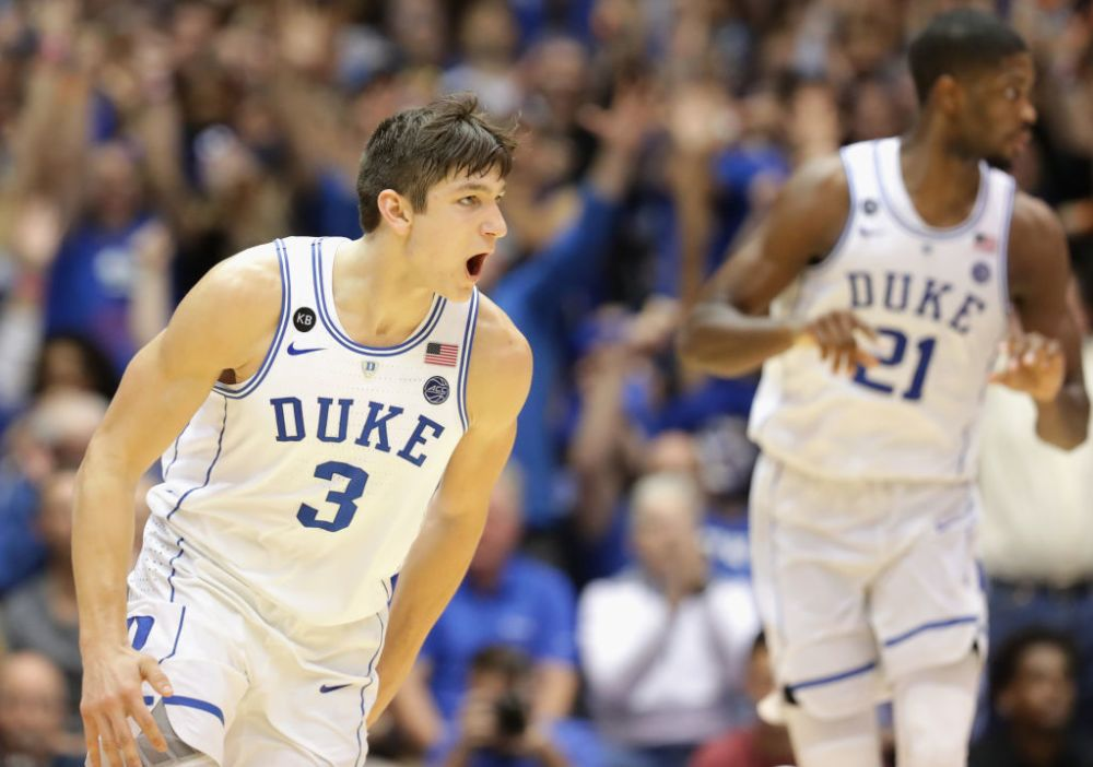 Grayson Allen returned to Duke for his senior season, keeping the Blue Devils in the title picture. (Getty)