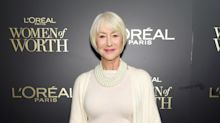 Helen Mirren, 74, chic in winter whites at L'Oreal red carpet event