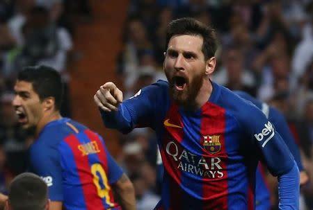 Lionel Messi comemora gol do Barcelona