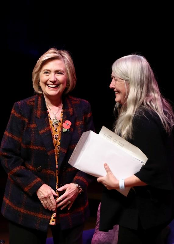 """Former U.S. Secretary of State Hillary Clinton attends an event promoting """"The Book of Gutsy Women"""" at the Southbank Centre in London"""