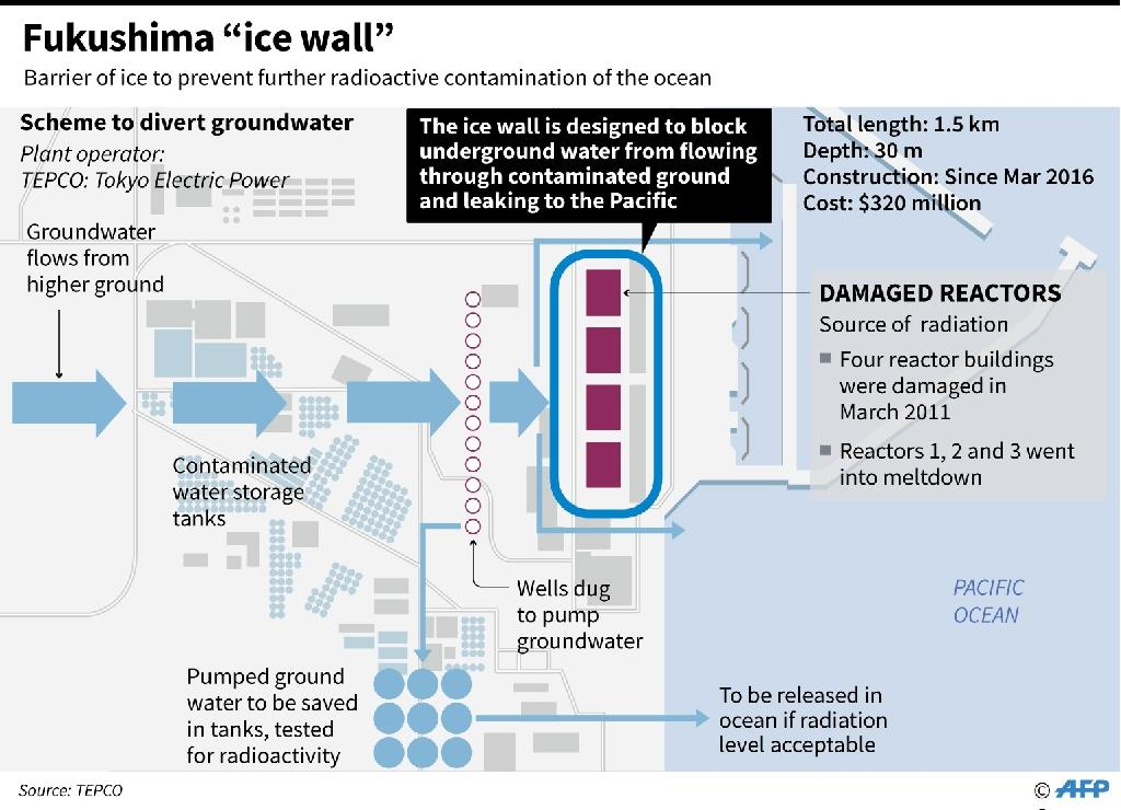 Graphic outlining the ice-wall scheme to divert groundwater at Japan's crippled Fukushima nuclear plant to prevent radioactive contamination of sea water (AFP Photo/-)
