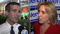 Eric Garcetti, Wendy Greuel make last-minute stops day before election