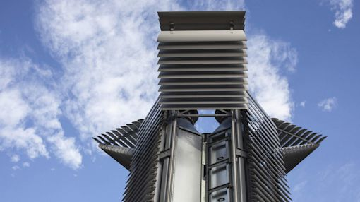 Beijing's silver-plated 'Smog Free Tower' turns pollution into carbon cubes