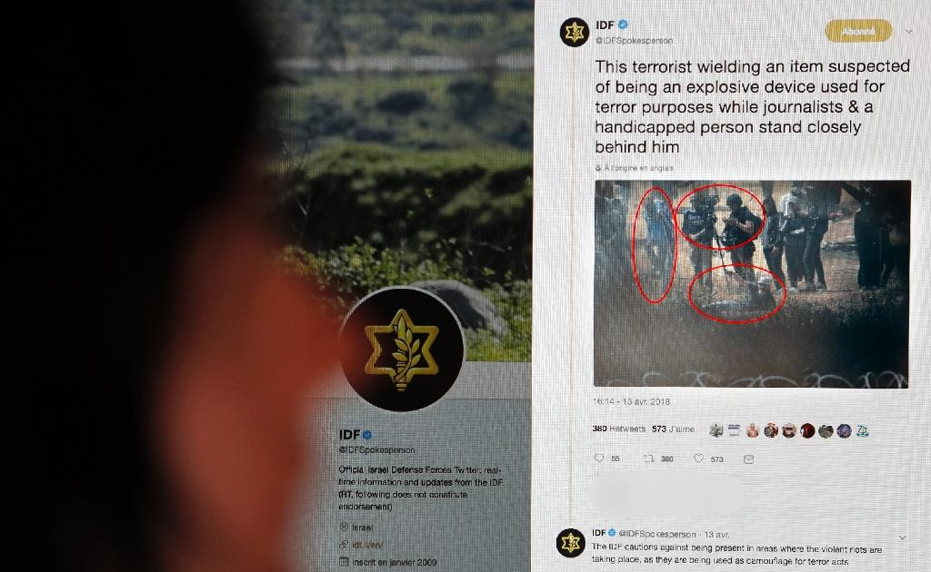 The military has made a photo from April 13 protests and clashes on the Gaza Strip border part of its public relations effort, with one army spokesman using it in a tweet to suggest bias and recklessness by journalists covering recent demonstrations