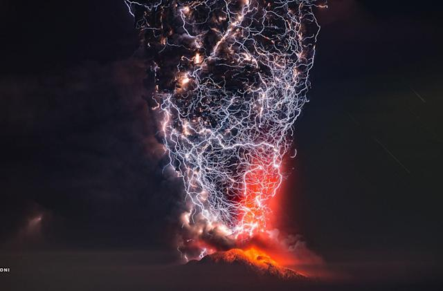 Catching lightning in a volcanic bottle