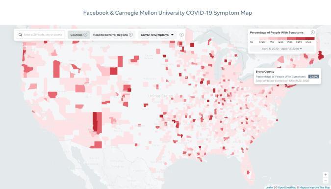 Facebook COVID-19 interactive map