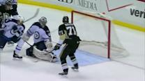 Evgeni Malkin chips one over the goal line