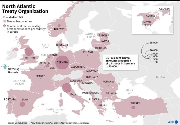 Map of the NATO member states showing the numbers of US troops stationed by country