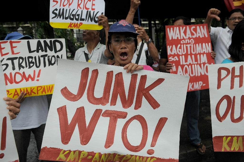 Leftist activists stage a rally at the Philippine Department of Agriculture in suburban Manila on December 15, 2015, against the World Trade Organization (WTO) (AFP Photo/Jay Directo)