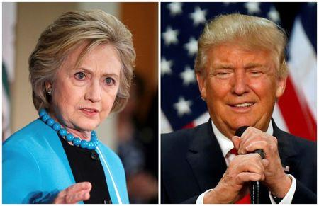 A combination photo of U.S. Democratic presidential candidate Hillary Clinton and Republican presidential candidate Donald Trump