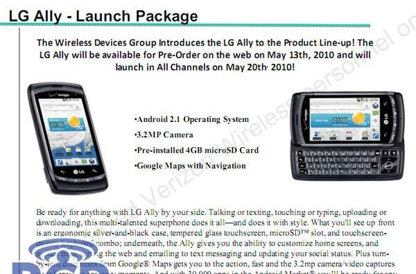 LG Ally up for preorder on Thursday, launching on May 20?