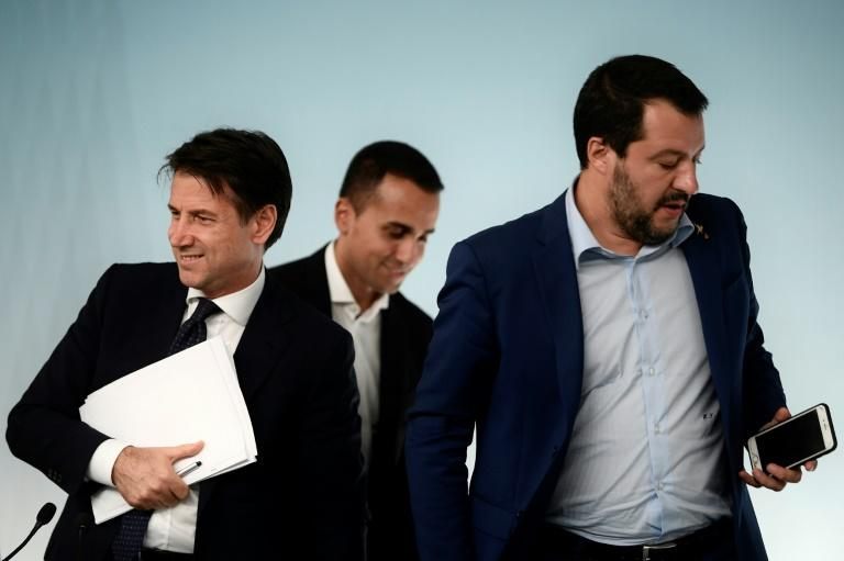 Conte was agreed to as a compromise candidate by deputy prime ministers Matteo Salvini, right and Luigi Di Maio, centre (AFP Photo/Filippo MONTEFORTE)