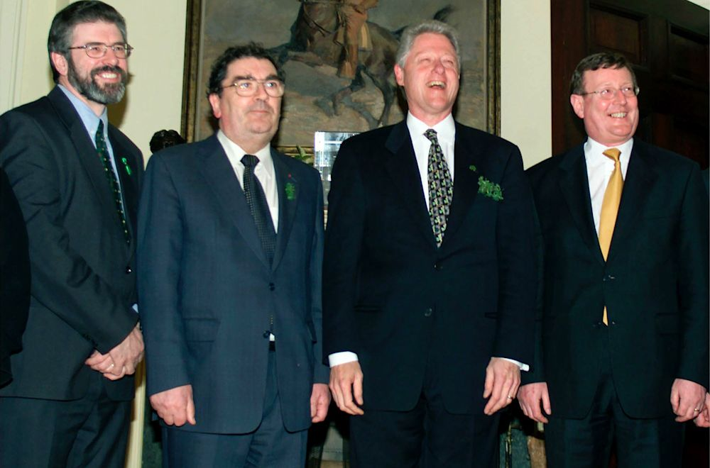 Clinton with Sinn Fein President Jerry Adams, left, and other political leaders during talks on Northern Ireland in Washington, D.C., on March 17, 2000.
