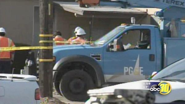 PG&E workers hit; one pinned by vehicle