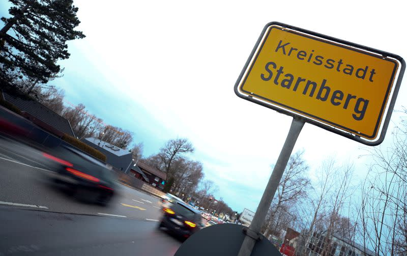 The town sign of Starnberg is seen after Germany has declared its first confirmed case of the deadly coronavirus