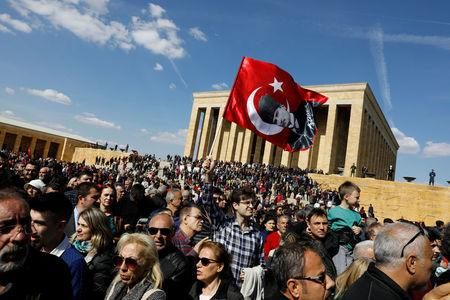Supporters of Ekrem Imamoglu, main opposition Republican People's Party candidate for mayor of Istanbul, wait for him to visit Anitkabir in Ankara